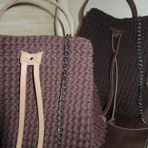 Вязанные сумки и рюкзаки
